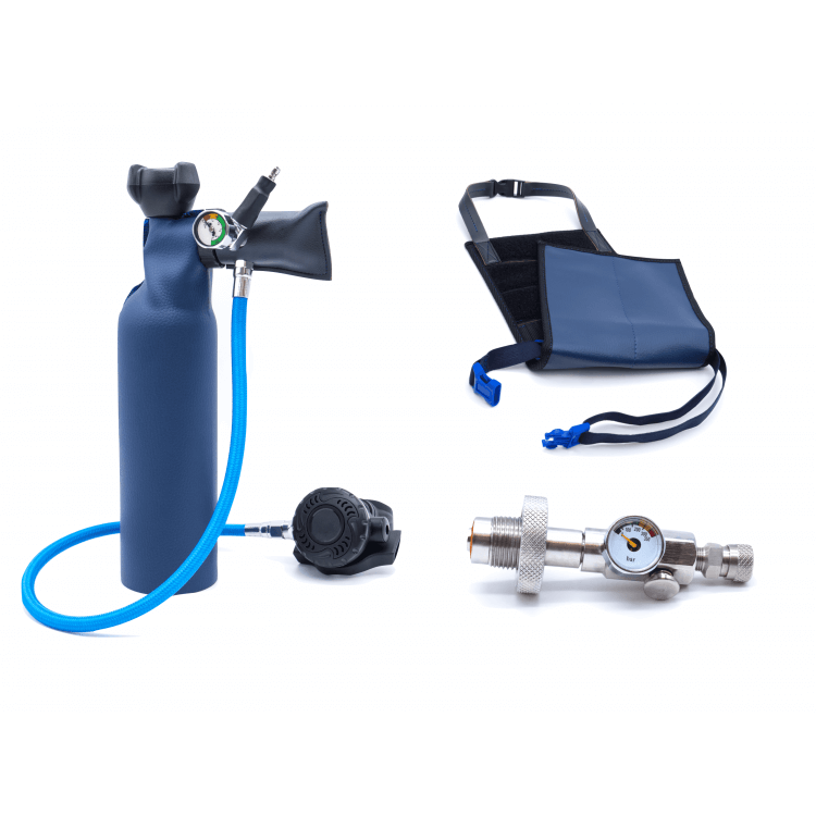 MiniDive Pro+ (0,8 L) + 1 DIN Filling station + Harness (Refurbished)